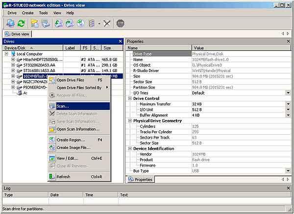 Восстановление данных с флешки - сканирование флешки программой r-studio