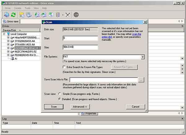 Восстановление данных с флешки - настройки сканирования r-studio