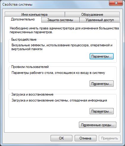 Свойства системы - Файл подкачки Windows 7