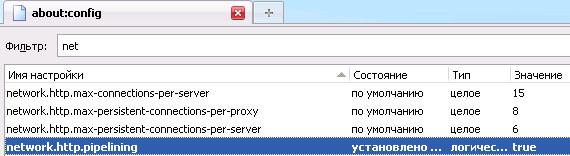 Ускорение Firefox – поиск параметра по фильтру