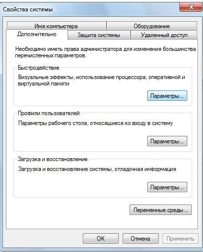 Свойства системы - Оптимизация производительности Windows 7