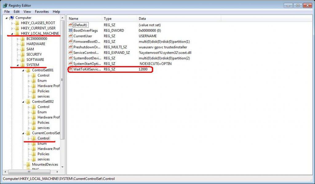 Работа с реестром Windows 7