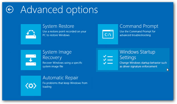 Advanced options - Безопасный режим Windows 8
