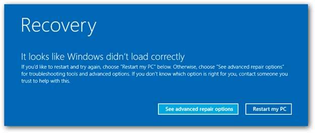 Recovery - восстановление системы Windows 8