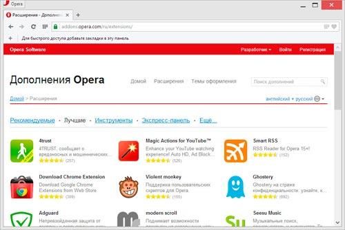 Дополнения для Opera
