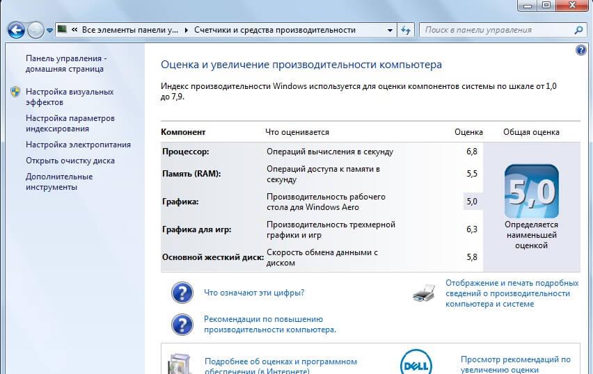 Оценка производительности Windows 7