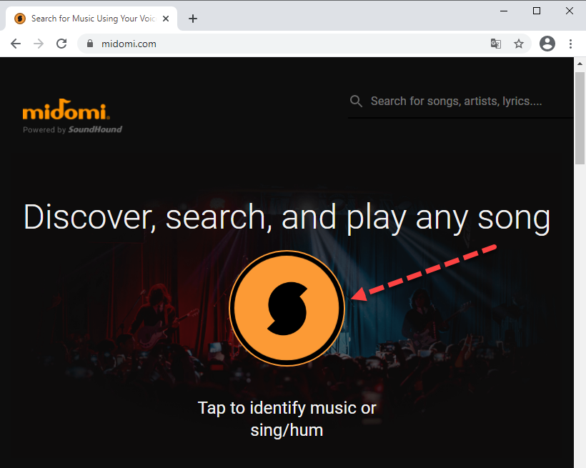 Поиск музыки через midomi.com
