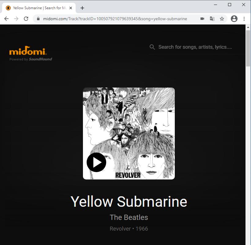 midomi.com результат распознавания