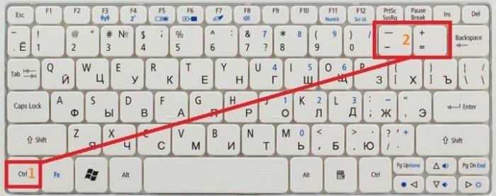 Как уменьшить шрифт на компьютере с помощью клавиатуры