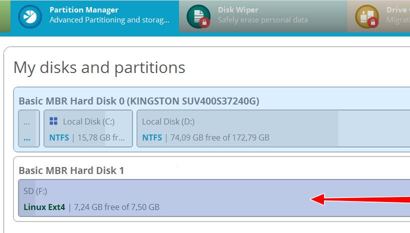 Paragon Hard Disk Manager - создание раздела на SD-карте