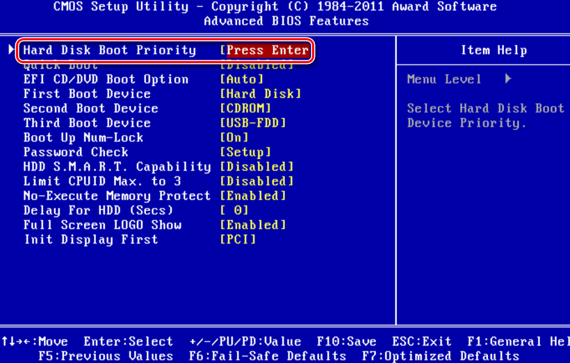 Award BIOS - Hard Boot Disk Priority