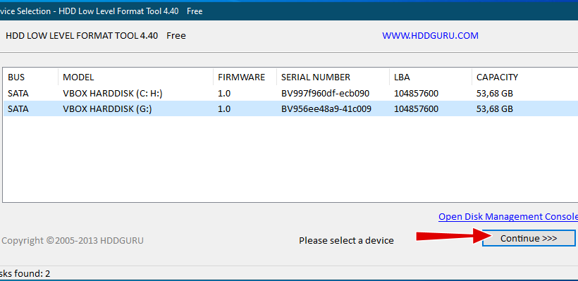 HDD LLF Low Level Format Tool - выбор диска