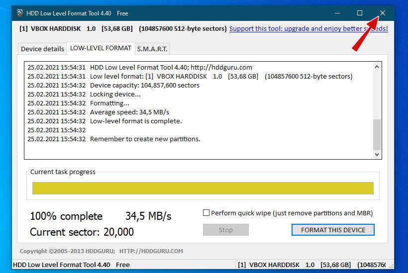 HDD LLF Low Level Format Tool - форматирование завершено