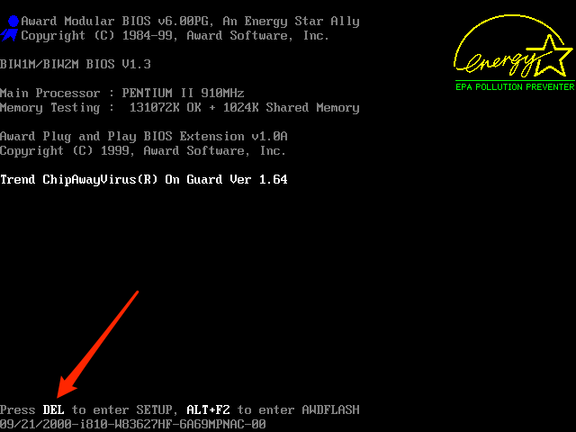 Для входа в раритетный Award BIOS необходимо нажать DEL при загрузке компьютера