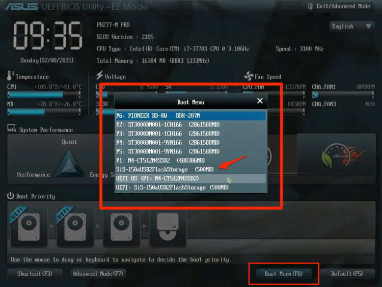 Boot Menu UEFI BIOS Asus