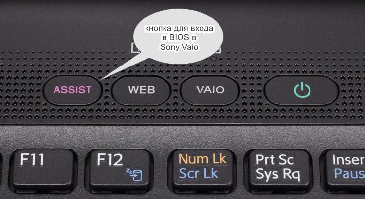 Кнопка входа в BIOS в Sony Vaio
