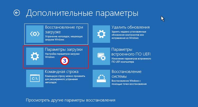 Автоматическое восстановление Windows 10 - параметры загрузки